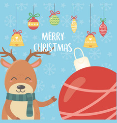 reindeer with balls decoration merry christmas vector image