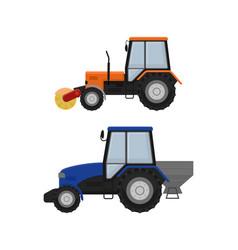 Road cleaning machine excavator tractor vector
