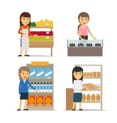 Saleswoman at the counter vector image