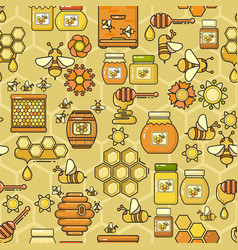 Seamless pattern beekeeping product vector