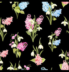 seamless pattern of siringa and galantus flowers vector image
