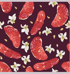 seamless pattern with citrus slices and flowers in vector image