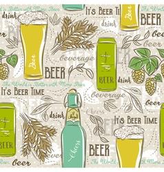 Seamless patterns with set of beer bottle mug hop vector