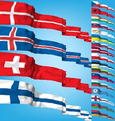 set 3 of world flags vector image