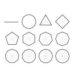 set geometric shapes polygons polygon vector image