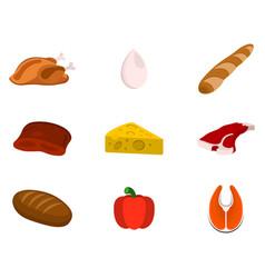 set of animal source foods cartoon vector image
