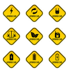 Set of hybrid car caution stickers save energy vector