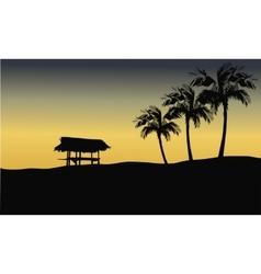 Silhouette of gazebo in hills vector