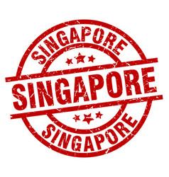 Singapore red round grunge stamp vector