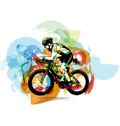 Sketch of male on a bicycle vector