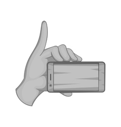 Smartphone in hand icon black monochrome style vector image