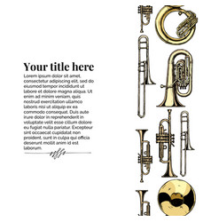 template with brass musical instrument vector image