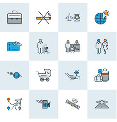 Travel icons colored line set with no smoking vector