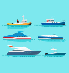 Vessels with various functions set vector
