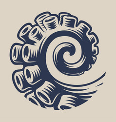 Vintage element an octopus tentacle for seafood vector