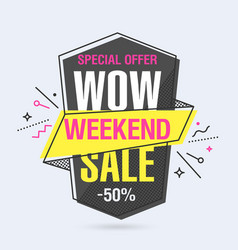 Weekend sale banner template in flat trendy vector