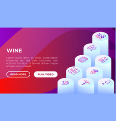 wine concept with thin line isometric icons vector image