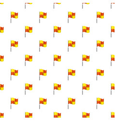 Yellow and orange flag with flagpole pattern vector