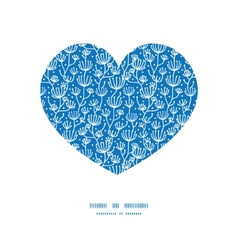 blue white lineart plants heart silhouette vector image vector image