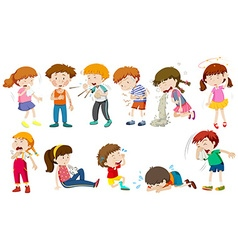 Boys and girls being sick vector image