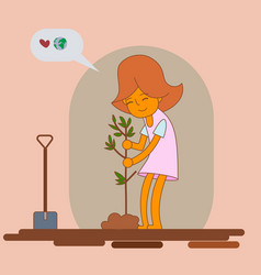 girl planting new tree vector image vector image