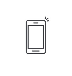 Mobile phone icon line art outline vector