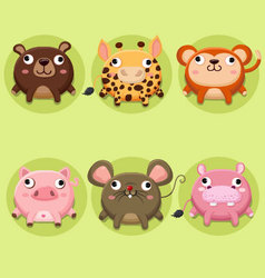 Set of cute animals Icon vector image