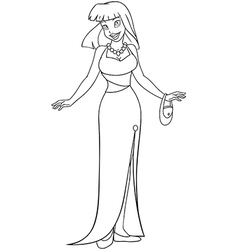 Asian Woman In Evening Dress Coloring Page vector image