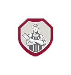 Butcher With Meat Cleaver Shield Retro vector image