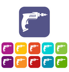 drill icons set flat vector image vector image