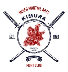 Fight Club Grunge print with samurai swords vector image