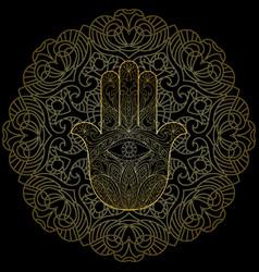 Hand of fatima with mandala vector