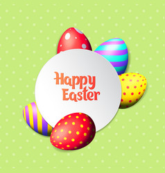 happy easter eggs and text on colored background vector image vector image