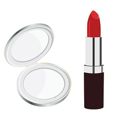 Mirror and lipstick vector image vector image