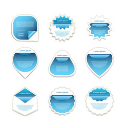 set of blue and white stickers vector image