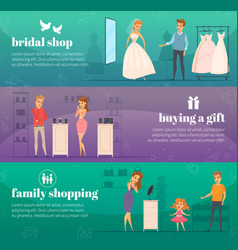 trying shop flat people banner set vector image