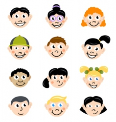 children face vector image