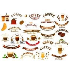 Coffee shop and cafe retro design elements vector image