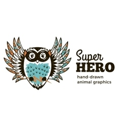 Owl in Superhero costume character isolated on vector image