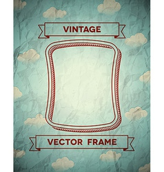 Vintage smooth frame with clouds vector image vector image