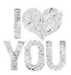 word i love you for coloring decorative vector image vector image