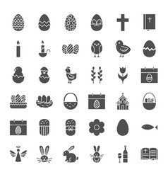 happy easter solid web icons vector image