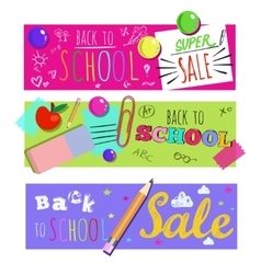 Horizontal Back To School Banner Set vector image