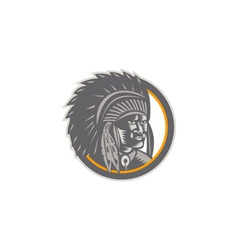 Native American Indian Chief Head Woodcut vector image vector image