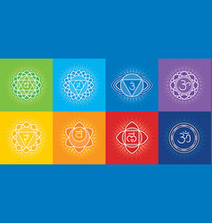 seven chakras of human body with symbol om vector image