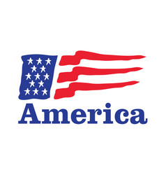 waving american flag logo design vector image vector image