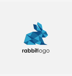 Abstract lowpoly rabbit logo icon template vector