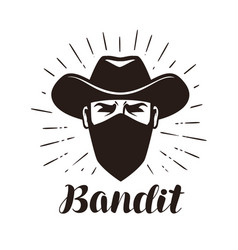 Angry bandit gangster logo or label portrait of vector