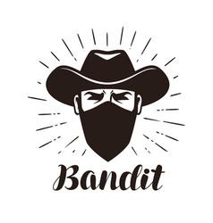 Angry bandit gangster logo or label portrait vector