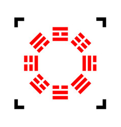 Bagua sign red icon inside black focus vector